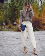sweater,cable knit,joggers,sandal heels,bag