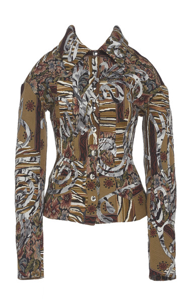 MUGLER Patchwork Tapestry Corset Twill Jacket in multi