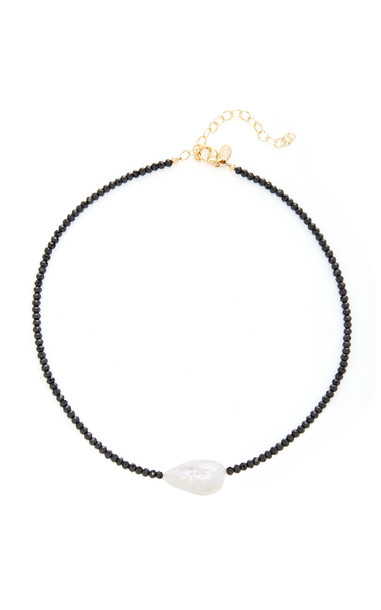 Joie DiGiovanni Spinel Single Baroque Pearl Gemstone Necklace in black