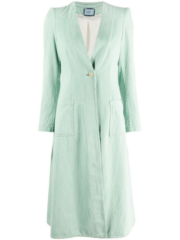 Forte Forte collarless coat in green