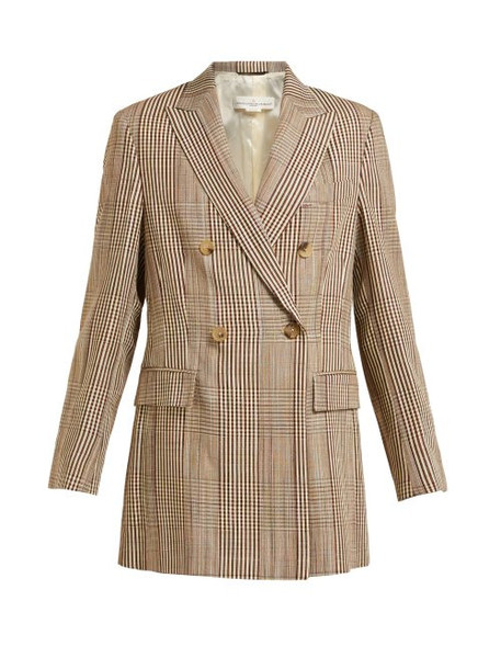 Golden Goose Deluxe Brand - Double Breasted Checked Longline Blazer - Womens - Beige Multi