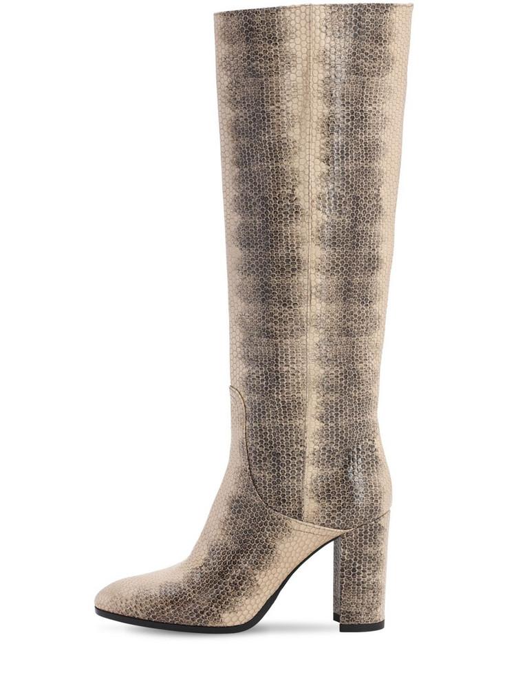 STRATEGIA 80mm Lizard Print Leather Tall Boots in beige