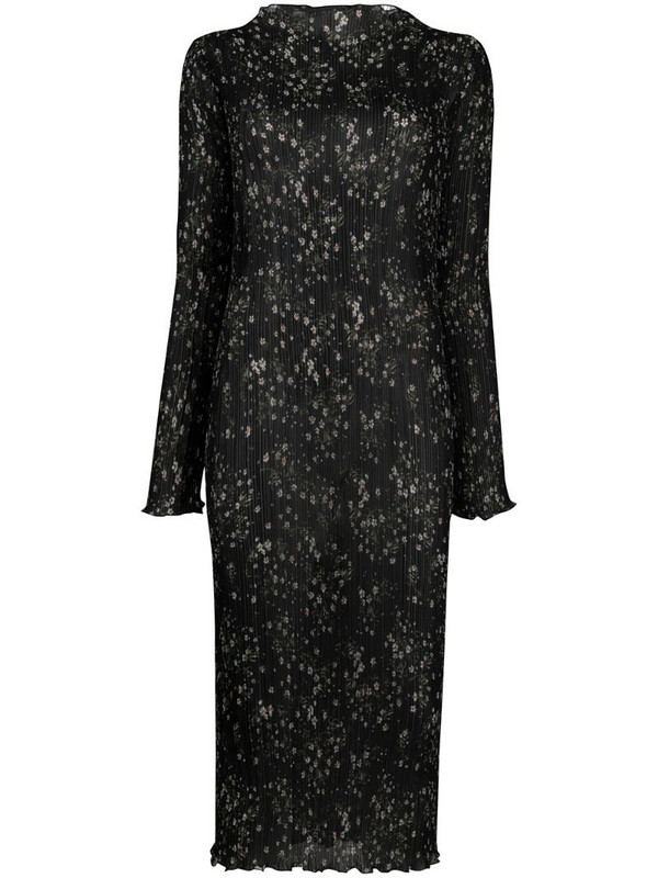 Patrizia Pepe floral-print long-sleeve dress in black