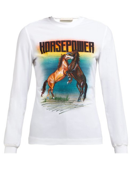 Christopher Kane - Horse Power Print Stretch Jersey Top - Womens - White Multi
