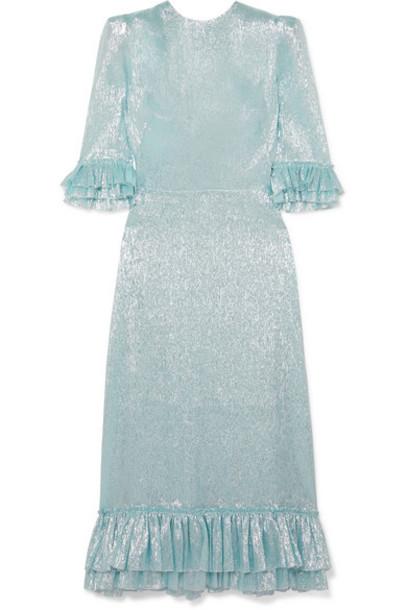 The Vampire's Wife - Falconetti Ruffled Silk-blend Lamé Dress - Blue