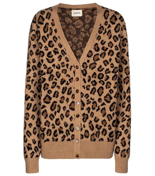 Khaite Amelia leopard-print cashmere cardigan in brown