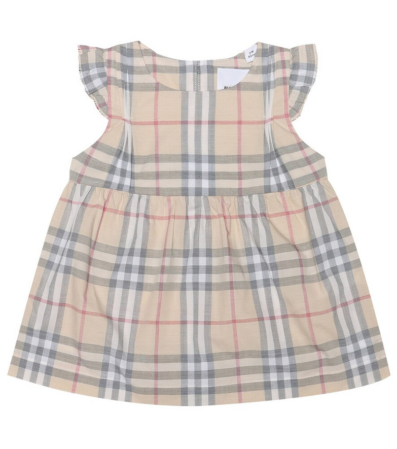 Burberry Kids Baby cotton dress and bloomers set in beige