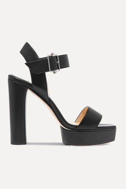 Jimmy Choo - Maie 125 Crystal-embellished Leather Platform Sandals - Black