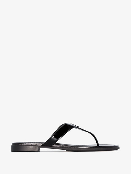 Prada black logo patent leather sandals