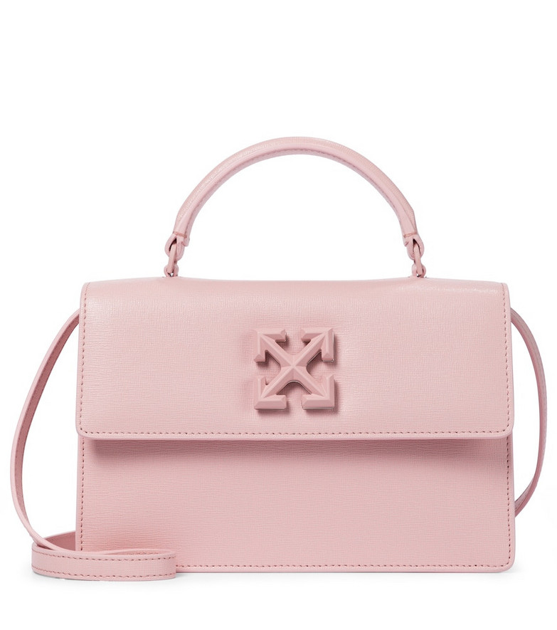 Off-White Jitney 1.4 leather shoulder bag in pink