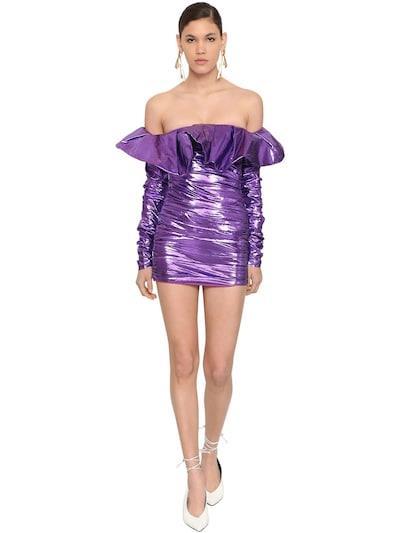 ATTICO Whit Maxi Peplum Lamè Mini Dress Purple