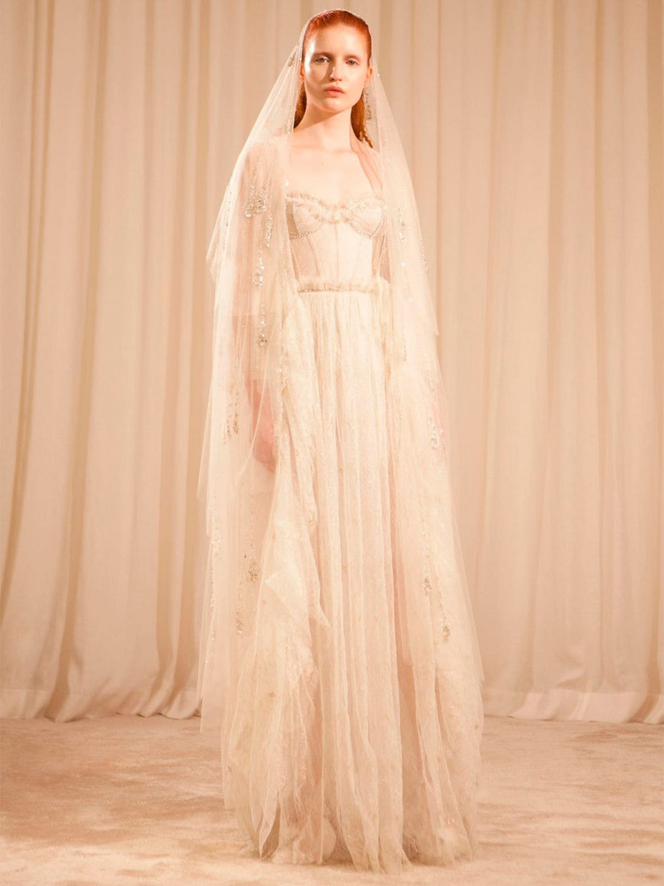 SANDRA MANSOUR Embroidered Lace Dress W/ Corset in white