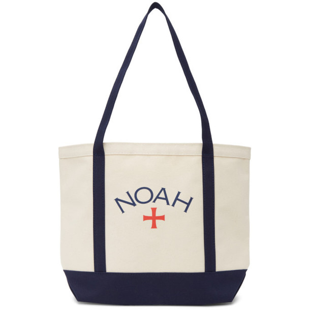 Noah NYC Off-White and Navy Core Logo Tote