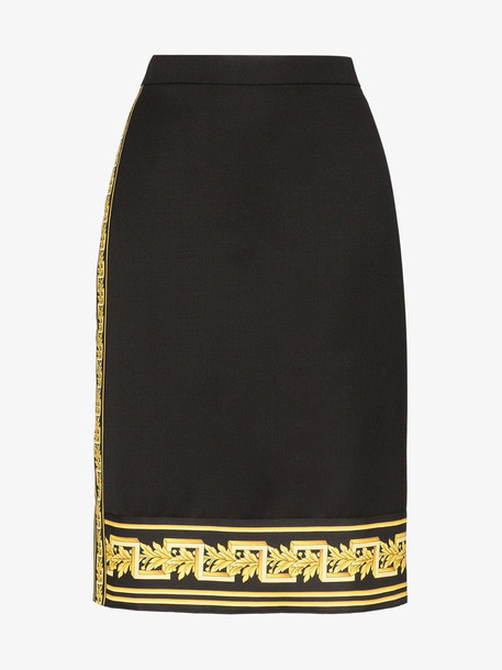 Versace Baroque detail fitted midi skirt in black