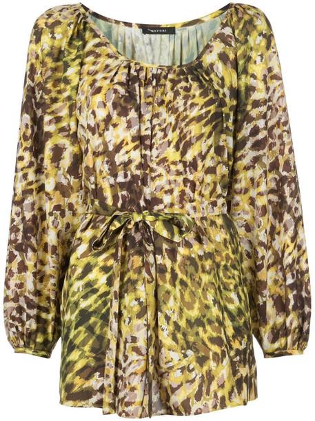 Natori tie-waist leopard-print tunic in yellow