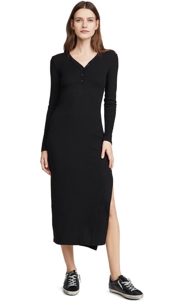 Stateside Mini Rib Maxi Dress in black