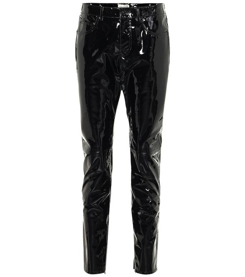Saint Laurent Patent-leather skinny pants in black