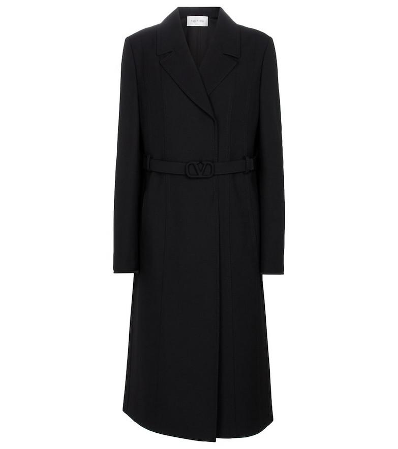Valentino Belted virgin wool coat in black