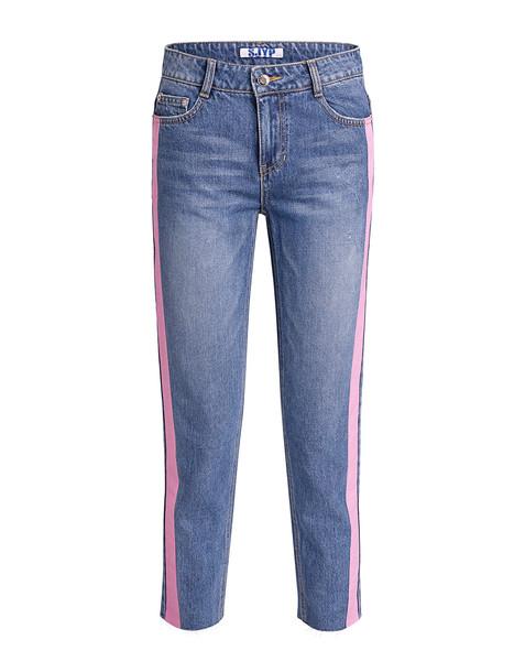 Sjyp Color Painted Trim Straight-leg Jeans Denim Blue/lilac
