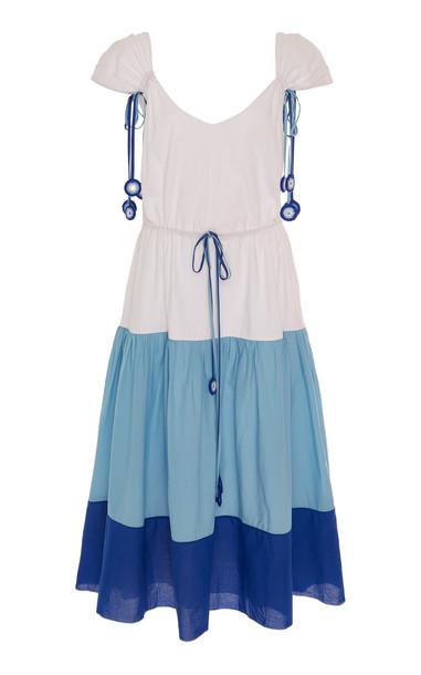 MY BEACHY SIDE Color-Block Cotton Midi Dress in multi