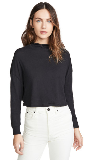 Chaser Gauzy Cotton Crop Dolman Tee in black
