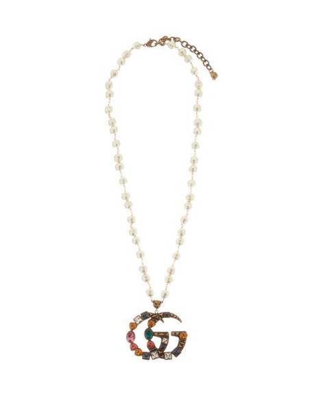 Gucci - Gg Crystal-embellished Pearl Necklace - Womens - Multi