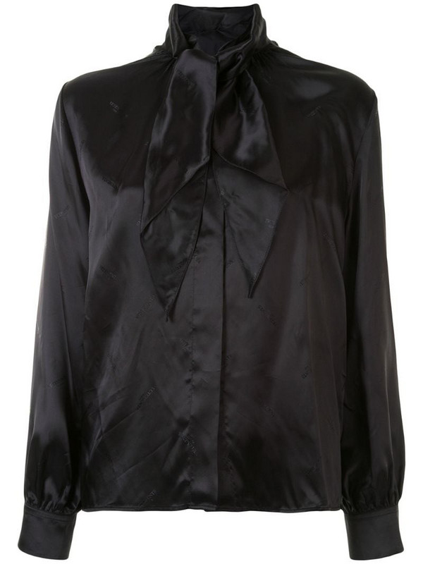 Vetements pussy-bow satin shirt in black