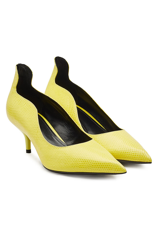 CALVIN KLEIN 205W39NYC Cassidy Leather Kitten Heels  in yellow