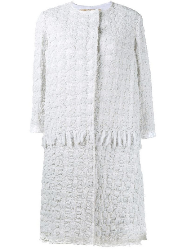 By Walid crocheted coat in white