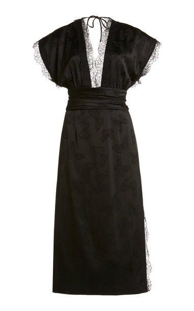 Dundas Lace-Trimmed Butterfly Jacquard Midi Dress in black
