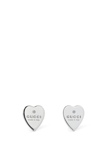 Gucci Trademark Heart Stud Earrings in silver