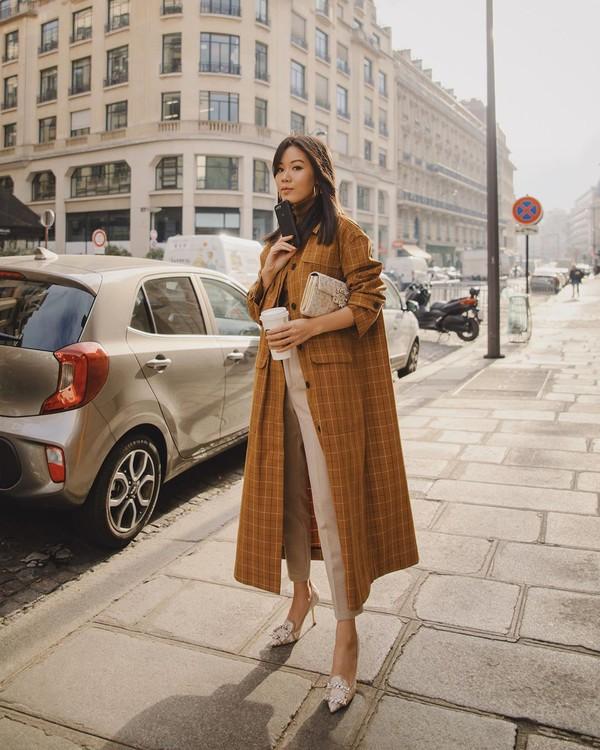 coat long coat plaid pumps high waisted pants bag
