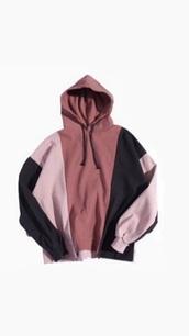 jacket,black,multiple shades of pink sweatshirt with hoodie p