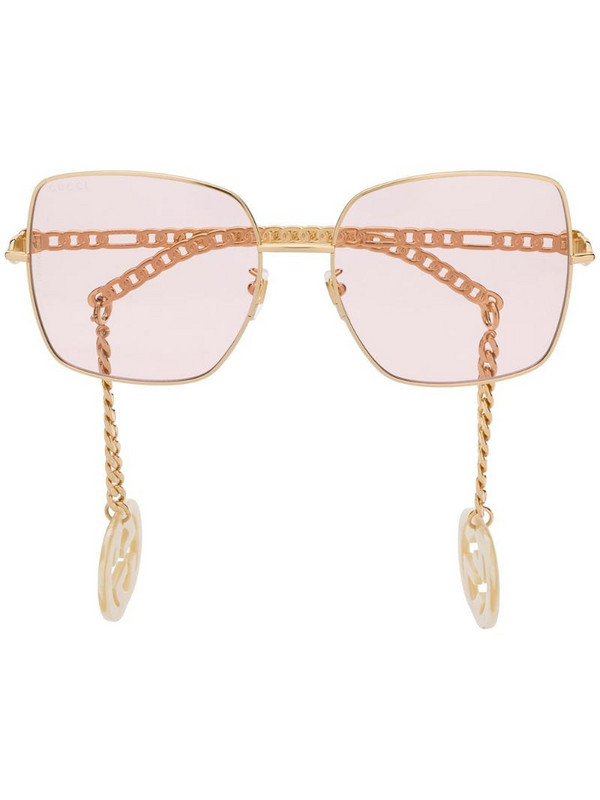 Gucci Eyewear detachable-charm square-frame sunglasses in gold