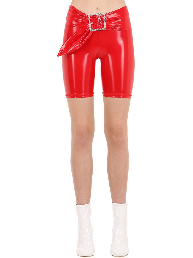 AYA MUSE Kenji Vinyl Biker Shorts in red