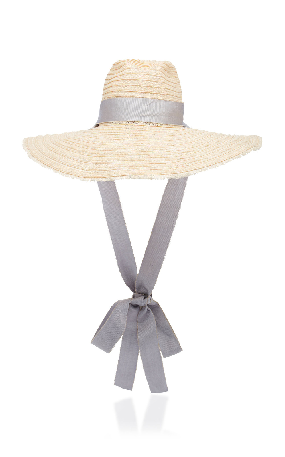 Filu Hats Mauritius Grosgrain-Trimmed Straw Hat in neutral