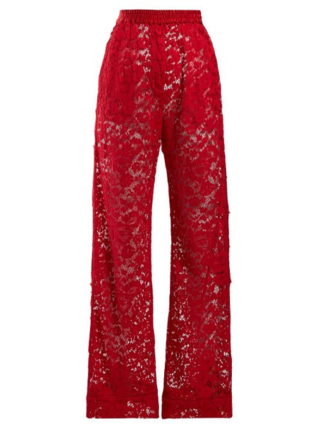 Dolce & Gabbana - Flared Chantilly Lace Trousers - Womens - Red