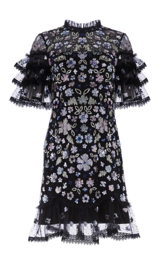 Needle & Thread Meadow Ruffled Sequin Mini Dress in black