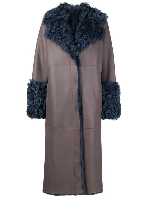 Suprema reversible sheepskin coat in neutrals
