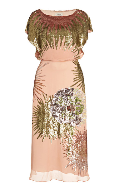 Temperley London Nightfall Sequined Georgette Midi Dress in neutral