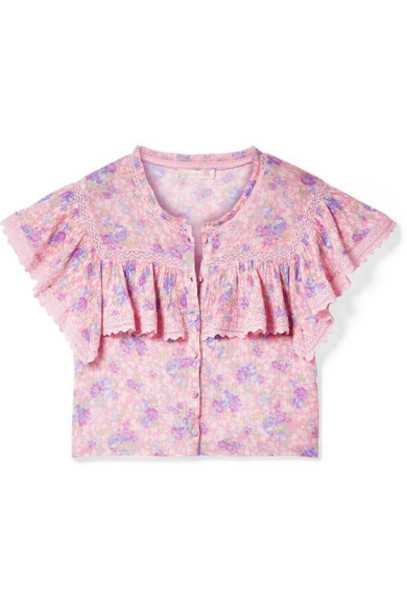 LoveShackFancy - Laurel Cropped Crochet-trimmed Floral-print Cotton-crepon Top - Pink