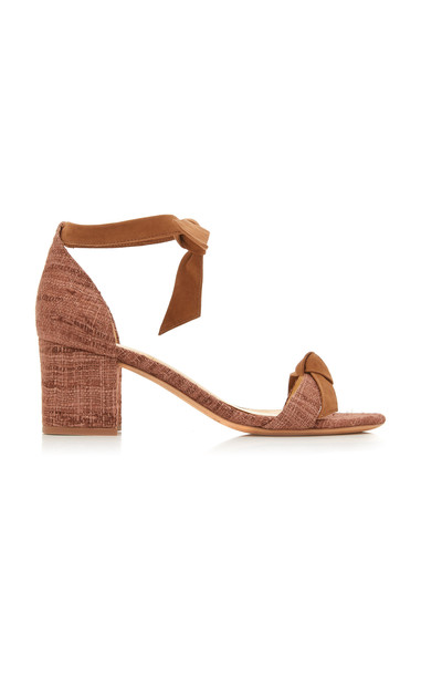 Alexandre Birman Clarita Block Heel Tweed And Suede Sandals in brown