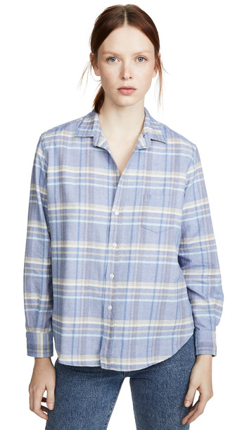 Frank & Eileen Eileen Button Down Shirt in blue / taupe / white