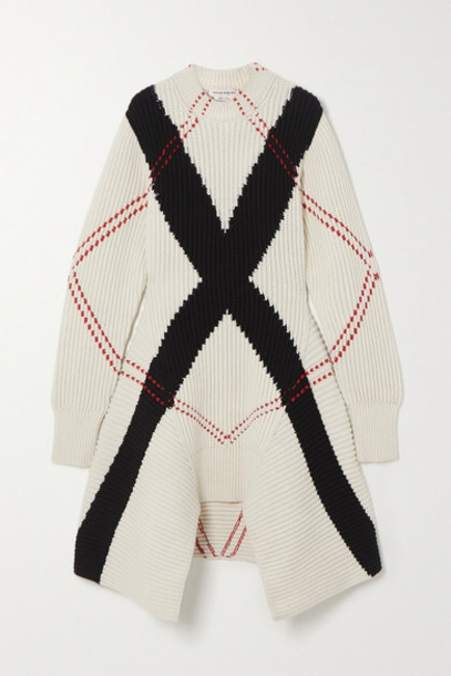 Alexander McQueen - Asymmetric Argyle Ribbed Wool And Cashmere-blend Dress - White