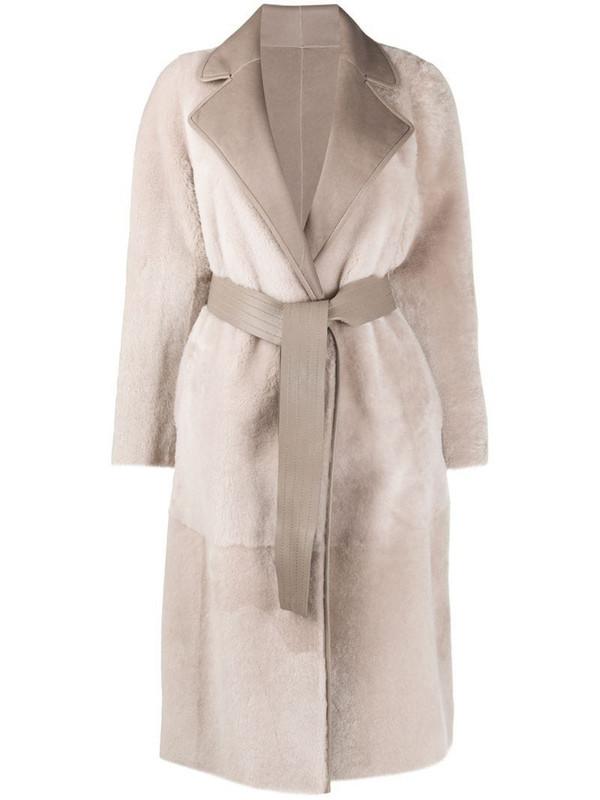 Blancha reversible wrap coat in grey