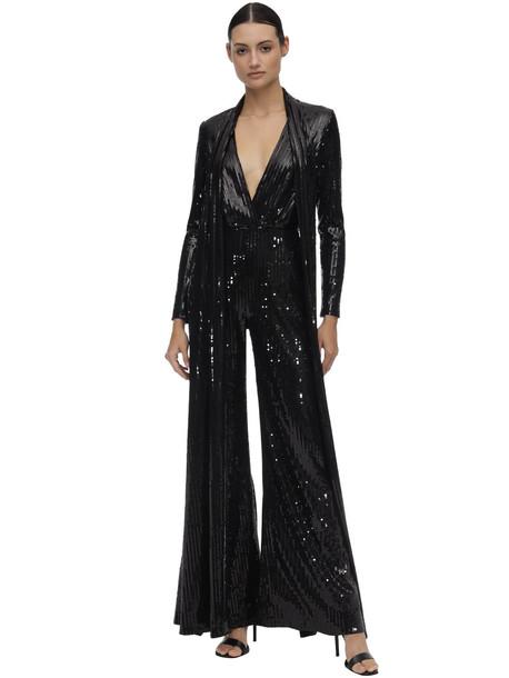 ELIE SAAB Long Sequined Jumpsuit W/ Cape in black