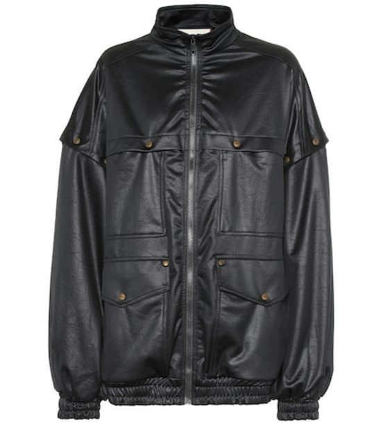 Gucci Satin-jersey track jacket in black