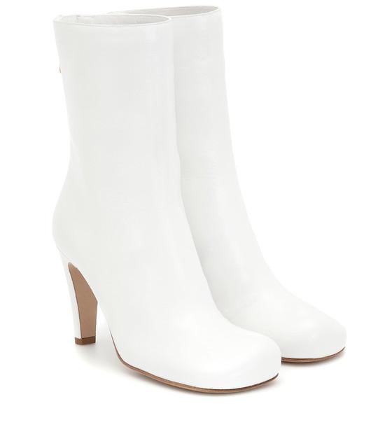 Bottega Veneta Bloc leather ankle boots in white