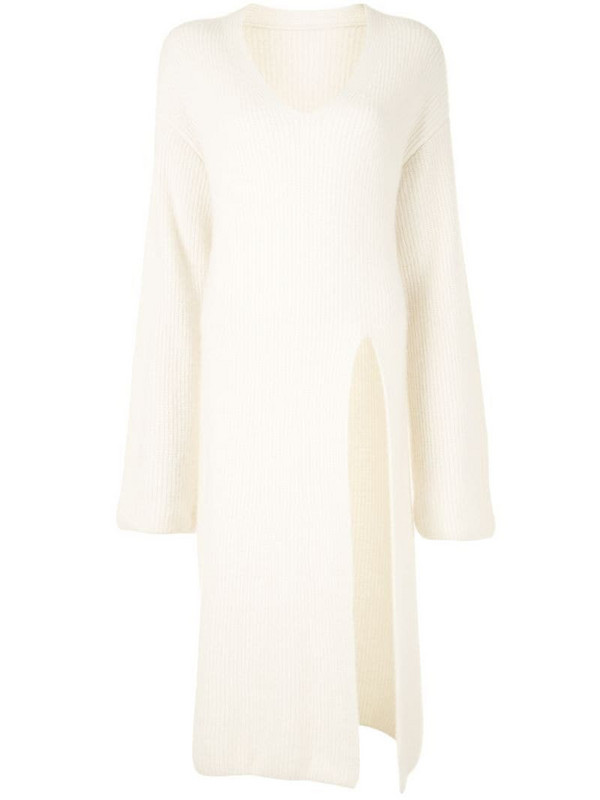 LAPOINTE high-split ribbed sweater in white