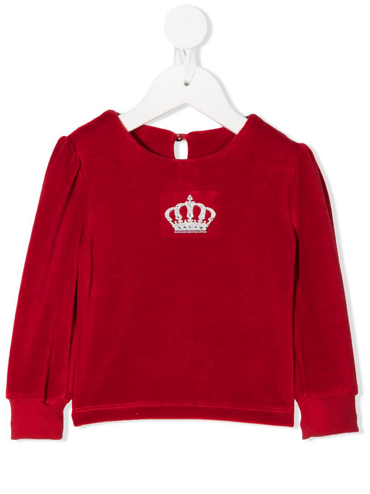 Lapin House crown embroidered long-sleeve top in red